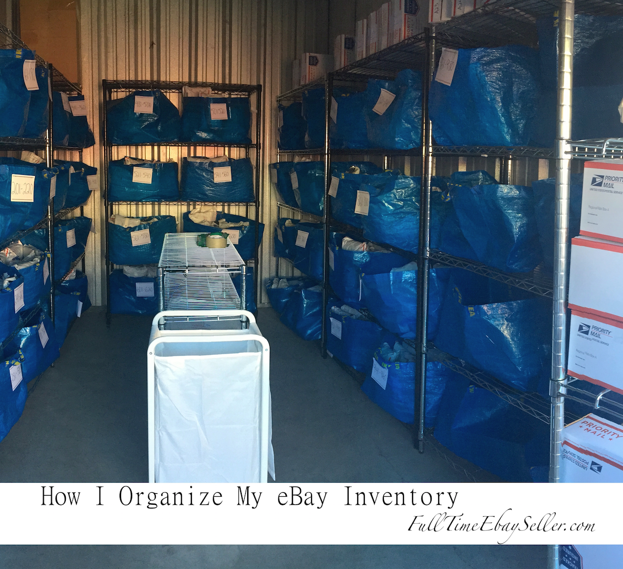 how they organize their ebay inventory using ikea blue bags and a numbered system [ 1240 x 1133 Pixel ]