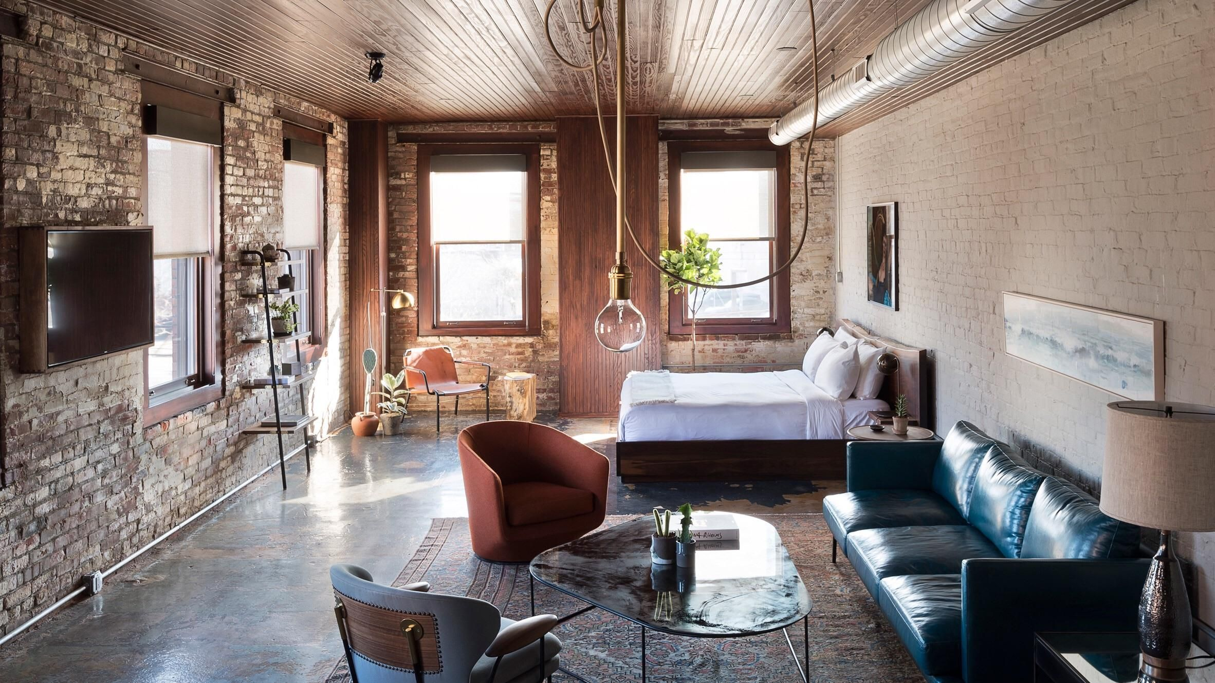 an old whiskey factory converted into a downtown hotel