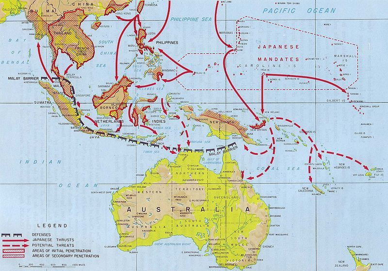 Map of Japanese advances in the South Pacific during World ...