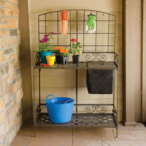 Wrought Iron Decorative Foldable Potting Bench Wrought Iron