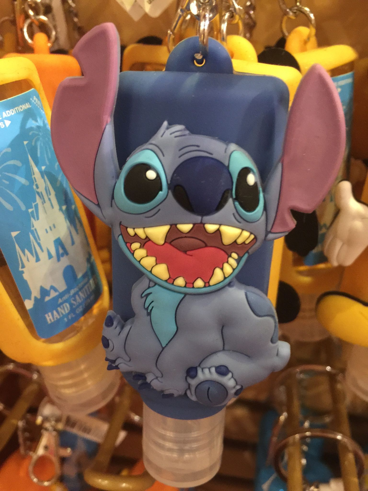 Disney Parks Keychain Keyring Hand Sanitizer Stitch 1oz New With
