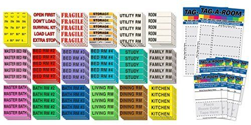 Tag-A-Room Color Coded Home Moving Box Labels Stickers Fragile