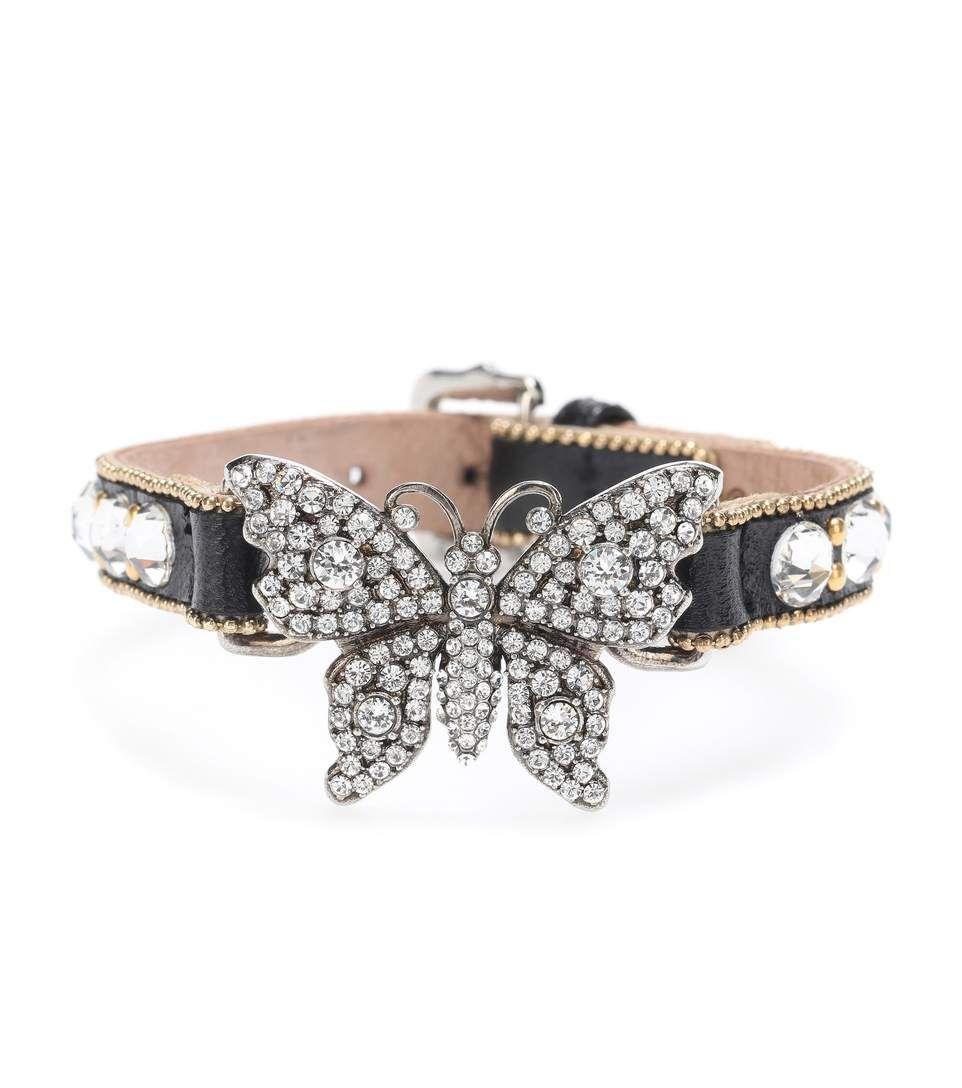 Gucci Embellished leather bracelet cMKTv