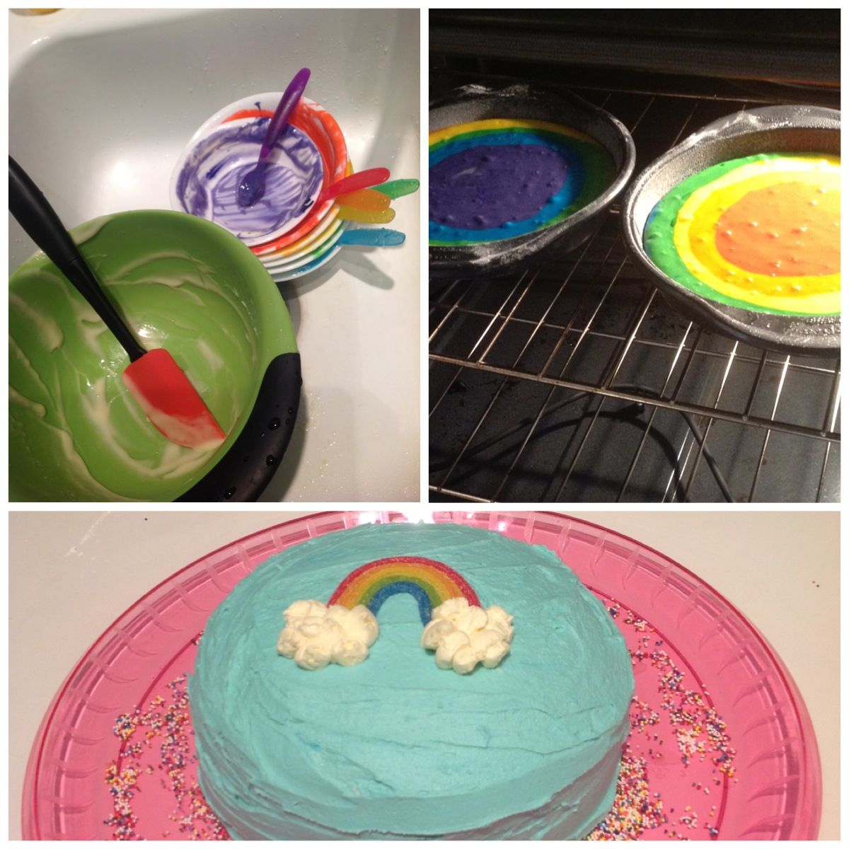 1st birthday, rainbow cake!