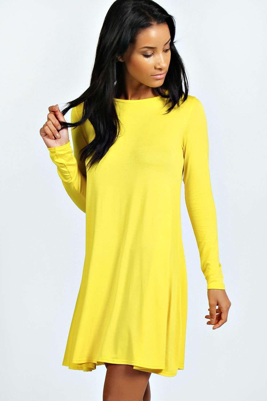 April scoop neck long sleeve swing dress swings