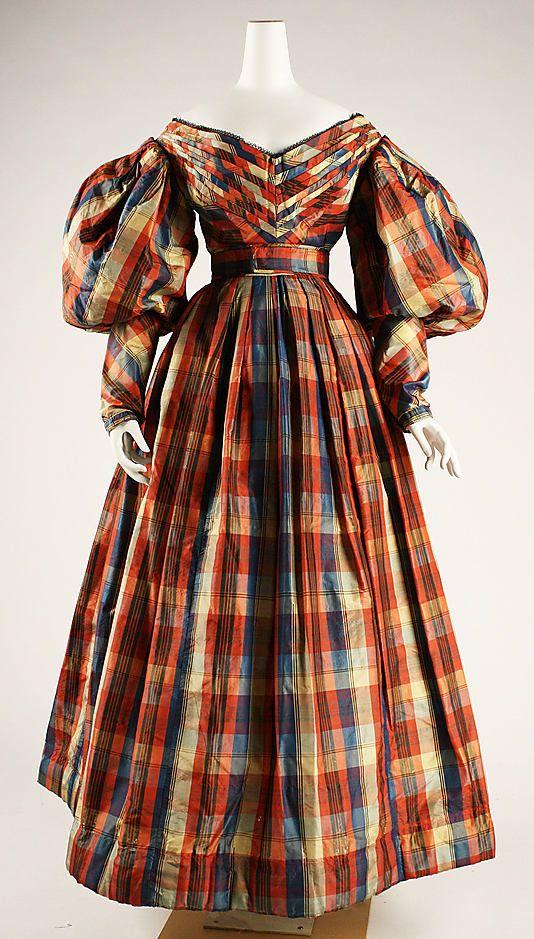 1830s Plaid Dress