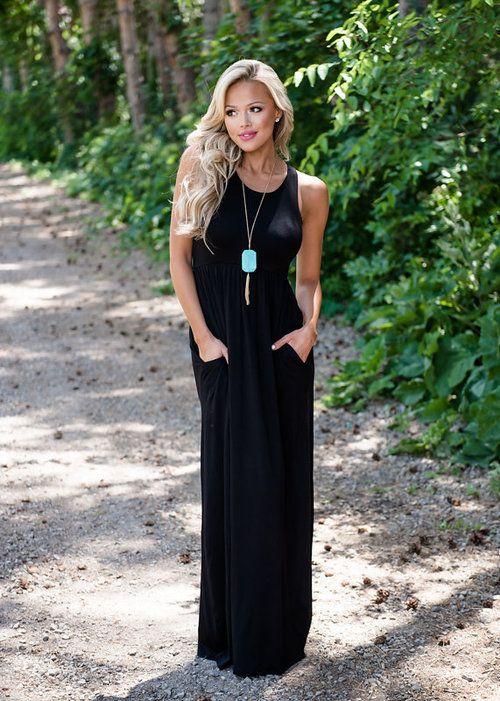 Black Tank Maxi Maxi Dress Long Dress Tank Dress Racerback Dress