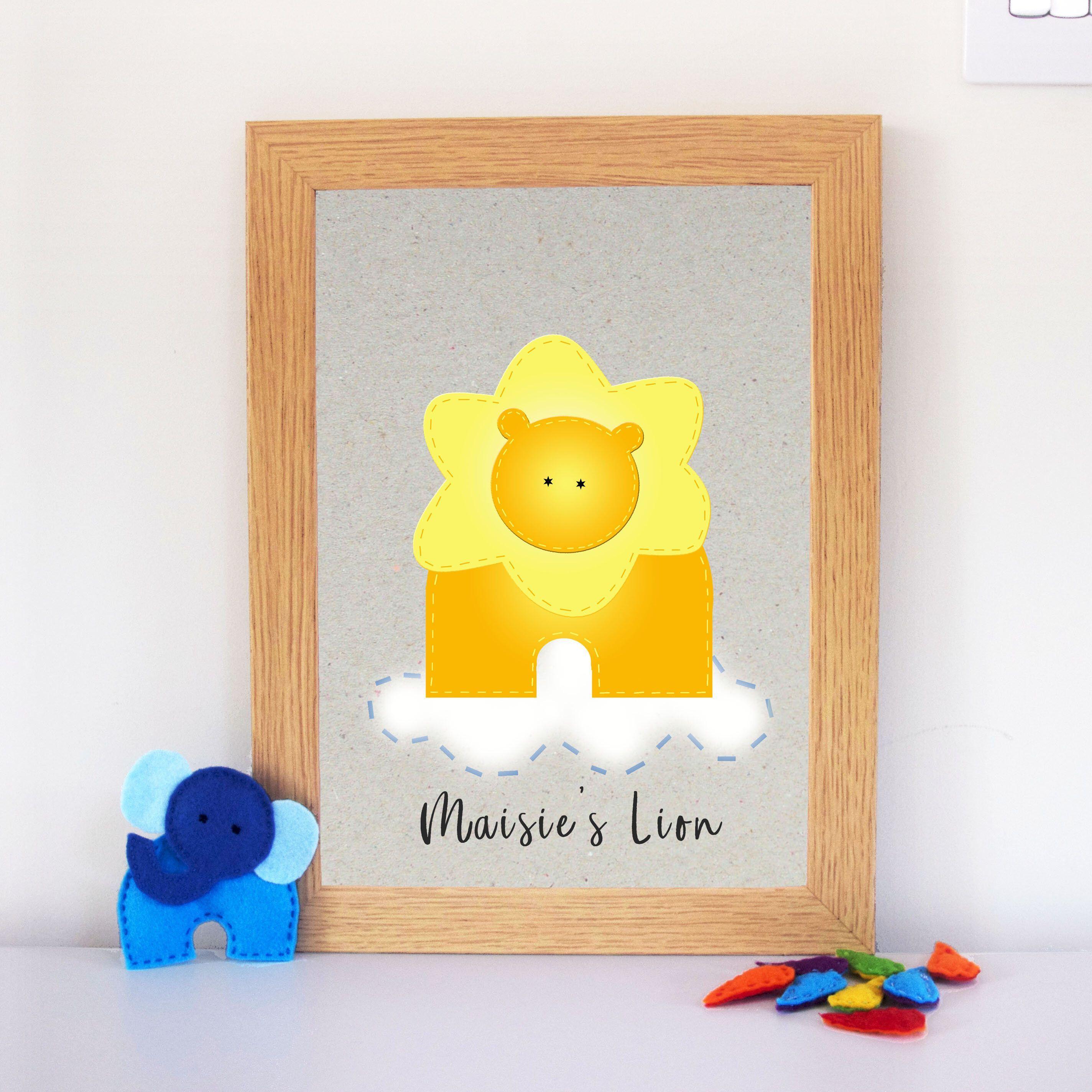 Colourful kids bedroom wall decor | Lion nursery wall art print ...