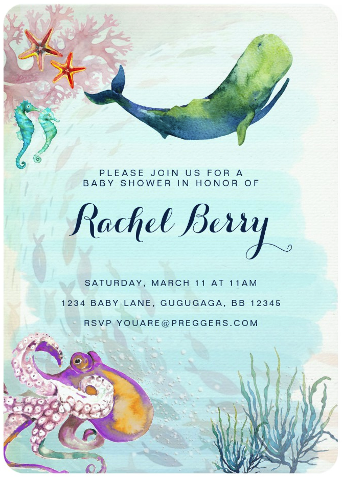 Watercolor under the sea baby shower invitations baby shower ideas watercolor under the sea baby shower invitations whale baby showersthemed filmwisefo Gallery