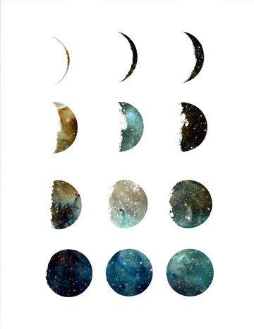Luna fases galaxia arte grabado, casa de la pared decoración, apartamento pared arte, impresión moderna, diseño de la galaxy, Ilustración de la luna, regalo, mínimo  ………………………………….………………………………….  Soy un artista canadiense y todo arte es hecho por mi en mi estudio. Esto es una impresión de alta calidad de mi ilustración original y está fechado y firmado en la parte posterior. Se imprime en bellas arte, 100% algodón, papel de archivo.  ❋FRAME NO INCLUDED❋  ❋NOTE❋ Dependiendo de la…