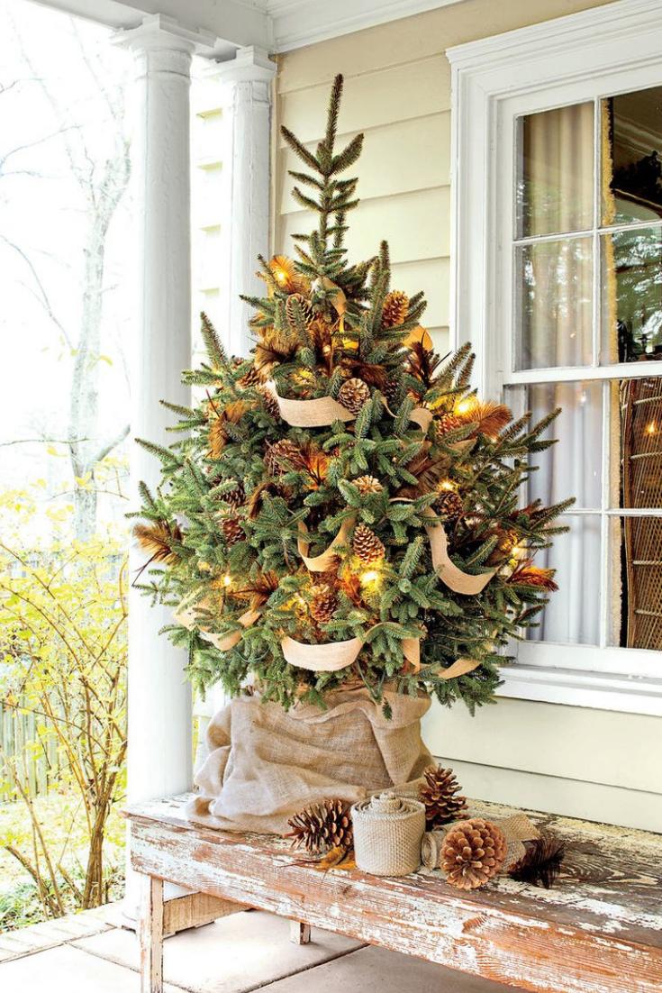 50 Farmhouse Christmas Decor Ideas For A Country Holiday Elegant Christmas Trees Small Christmas Trees Tabletop Christmas Tree