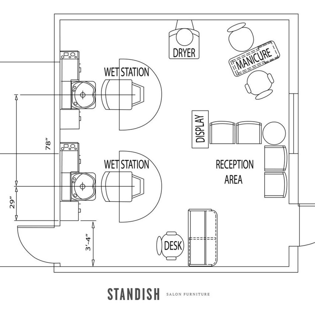 Beauty Salon Floor Plans Hair: Shampoo And Color Bar In Place Of One Station, Beverage