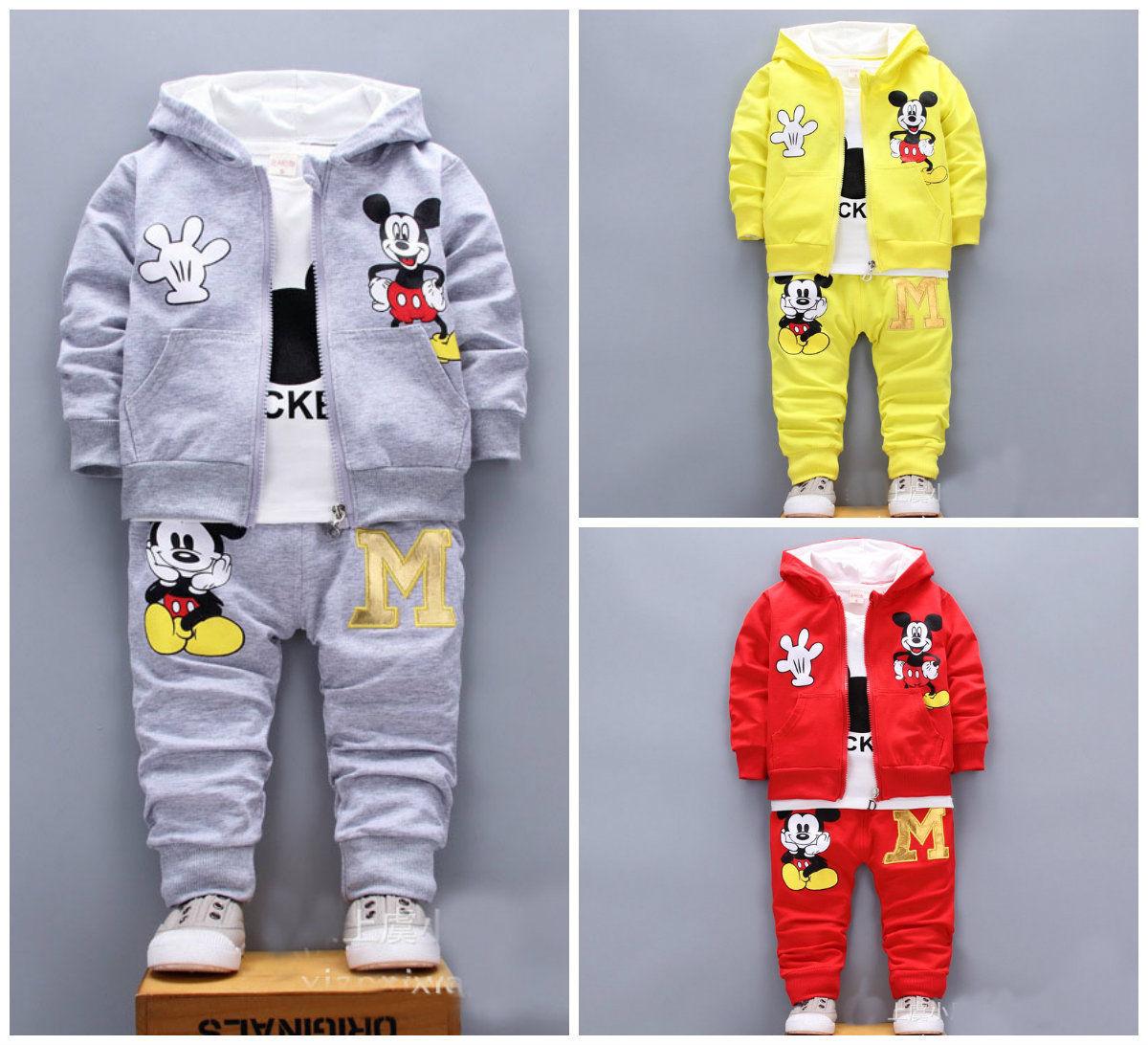 3pcs Baby toddler clothes boys coat+T shirt pants tracksuit outfits set cartoon