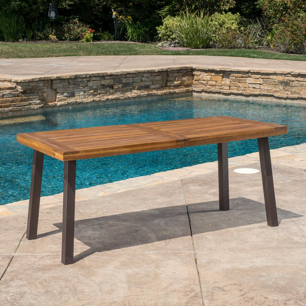 Noble House Dellateak Finish Rectangle Wood Outdoor Dining Table