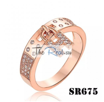 Hermes Replica Clic H Pink Gold Ring Paved Diamonds