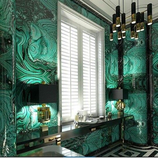 Love This Stunningly Luxurious And Maximalist Interior With Vivid Green Wallpaper Black And White Tiled Wallpaper House Design Home Wallpaper White Wallpaper Green and white wallpaper for walls