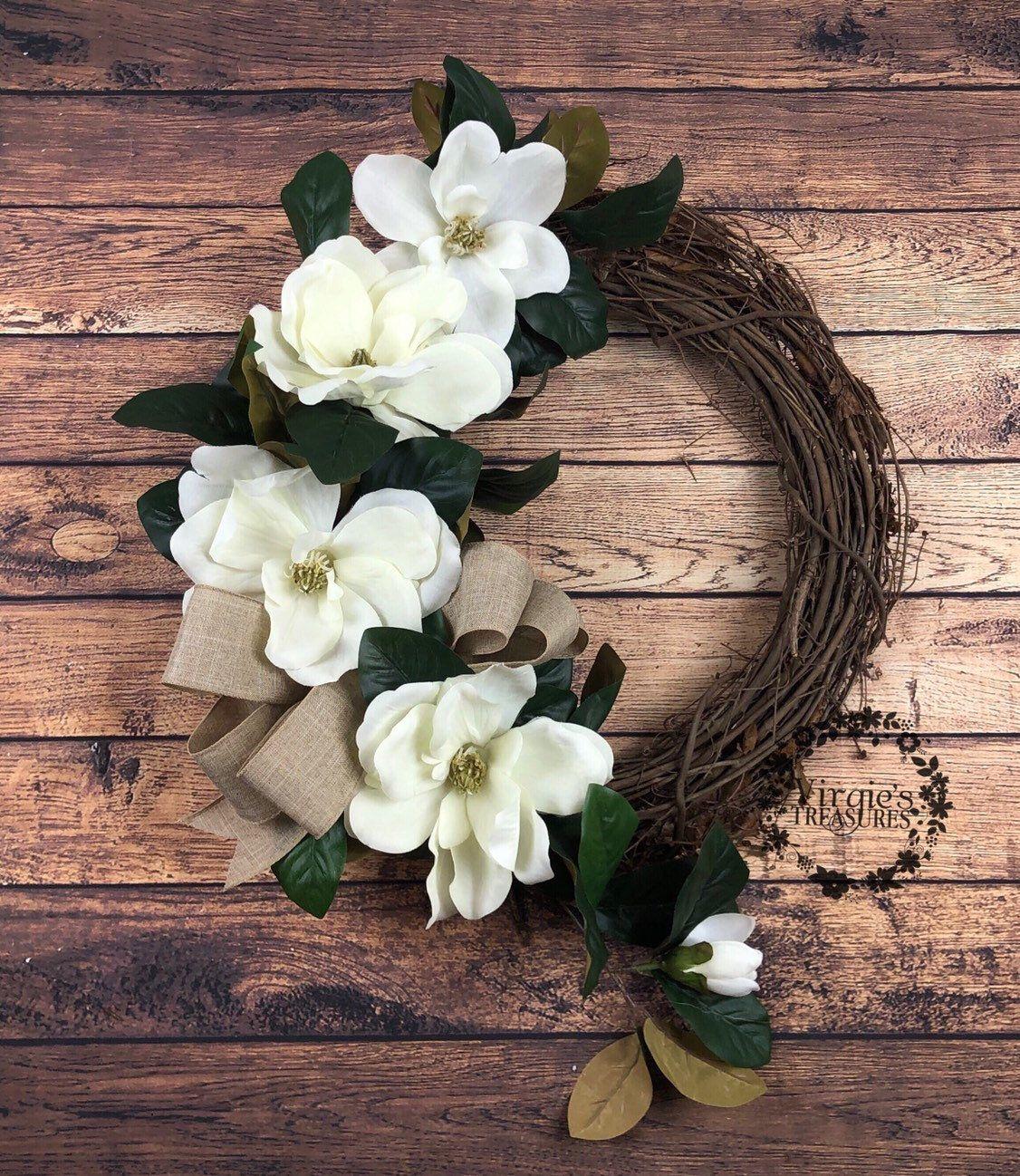 Photo of Magnolia wreath, cream magnolia wreath with bow-magnolia wreath-magnolia wreath-farmhouse magnolia wreath-farmhouse wreath bestseller