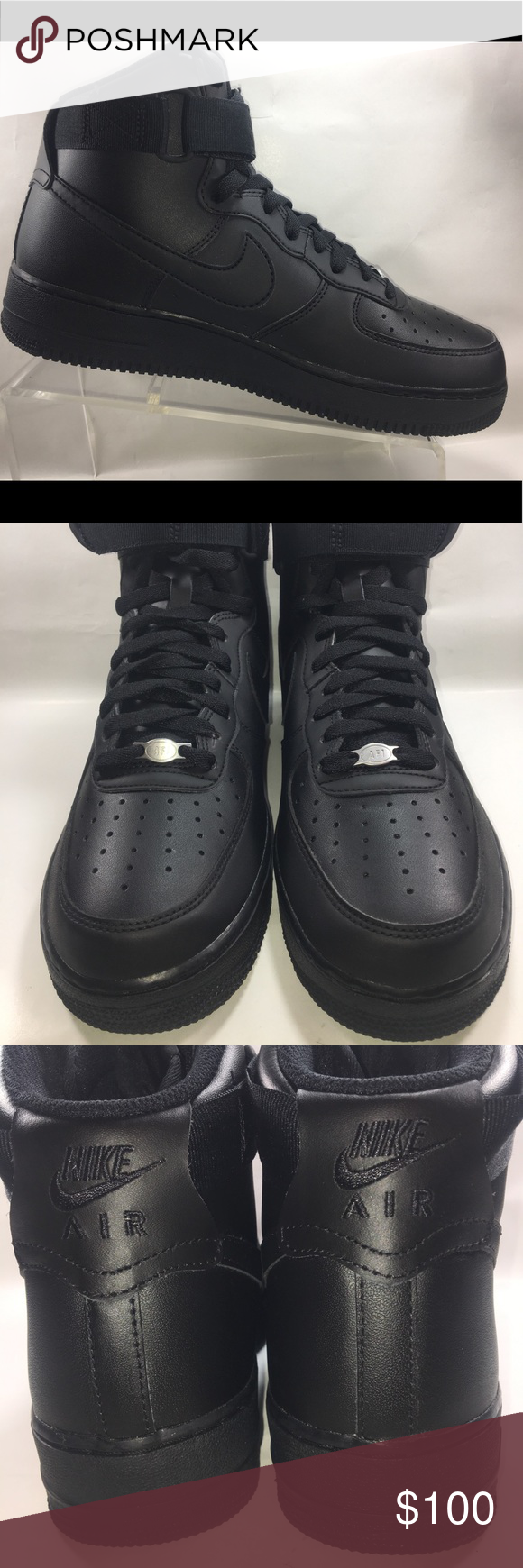 Nike Air Force One All Black High Top Lace Up Shoe Excellent Like New  Condition Some Normal Wear See Pictures. Nike Air Force Ones High Top  07 All  Black ... 017c44491