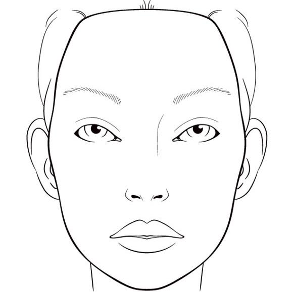 face charts vierge blank visage portrait base essai. Black Bedroom Furniture Sets. Home Design Ideas