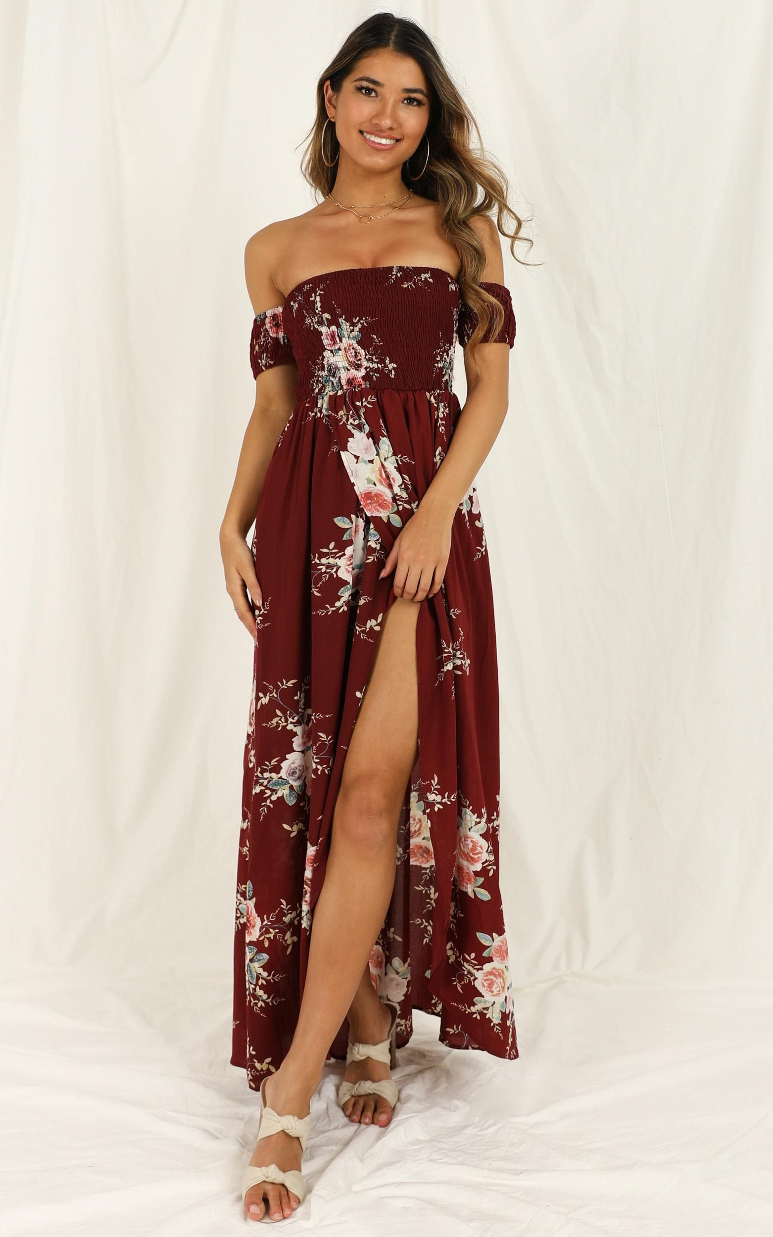 Lovestruck Maxi Dress In Wine Floral Showpo in 2020