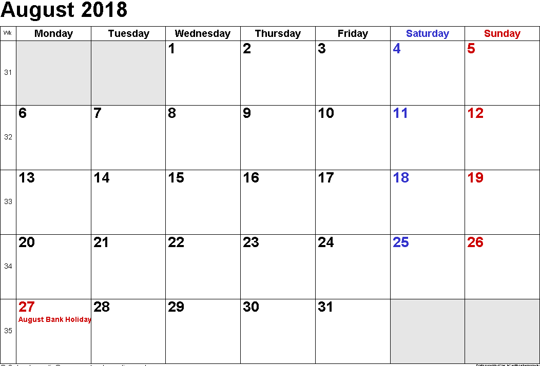 august 2018 calendar uk national holidays