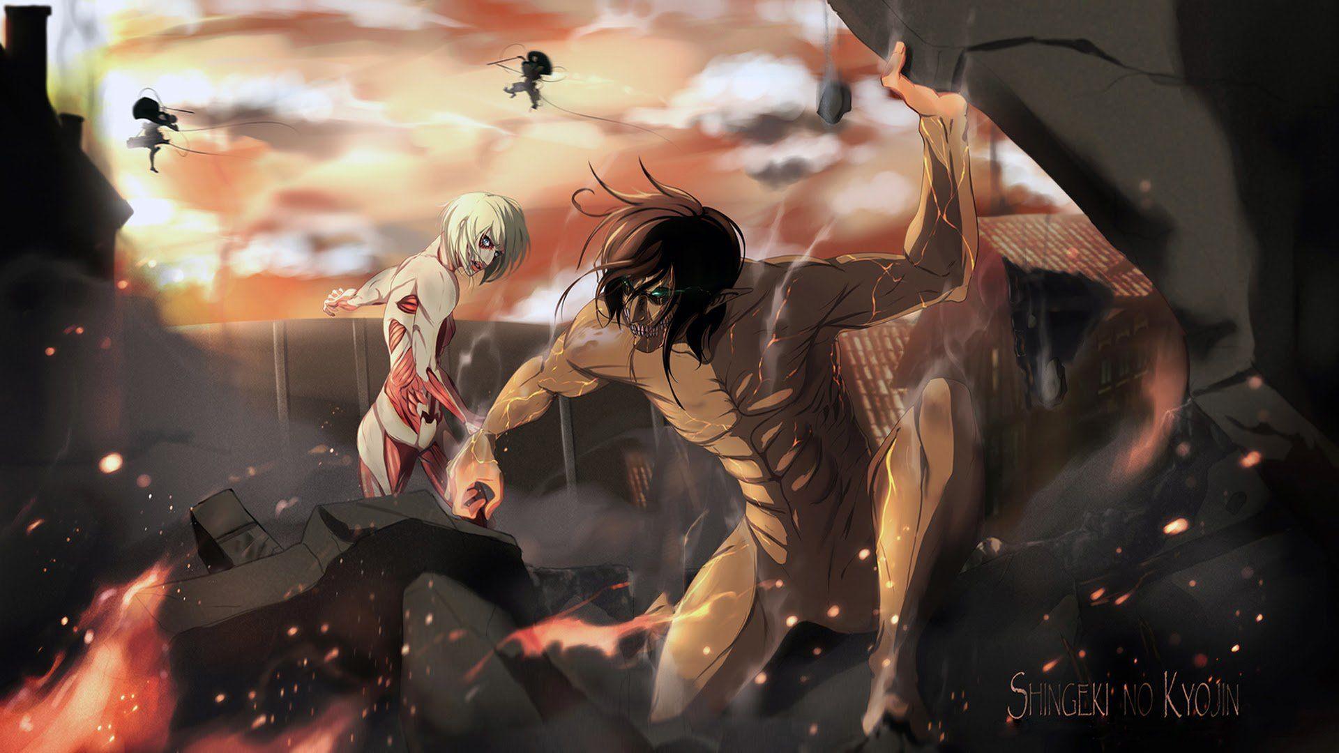 Anime Attack On Titan Eren Yeager Annie Leonhart Wallpaper