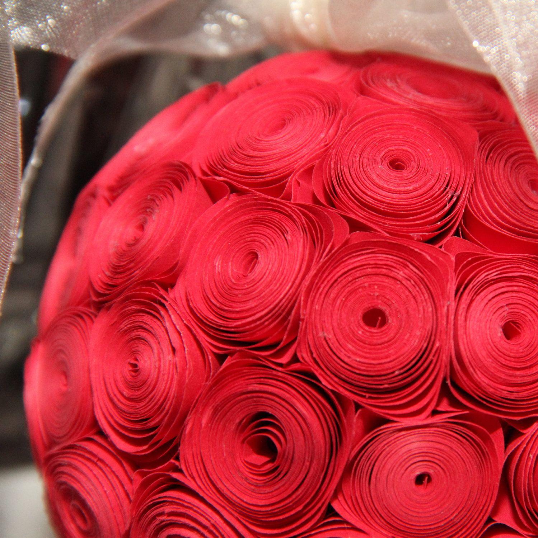 Wedding aisle decor ideas diy  Six Red and Cream Paper Flower Pomander Kissing Ball with Cream