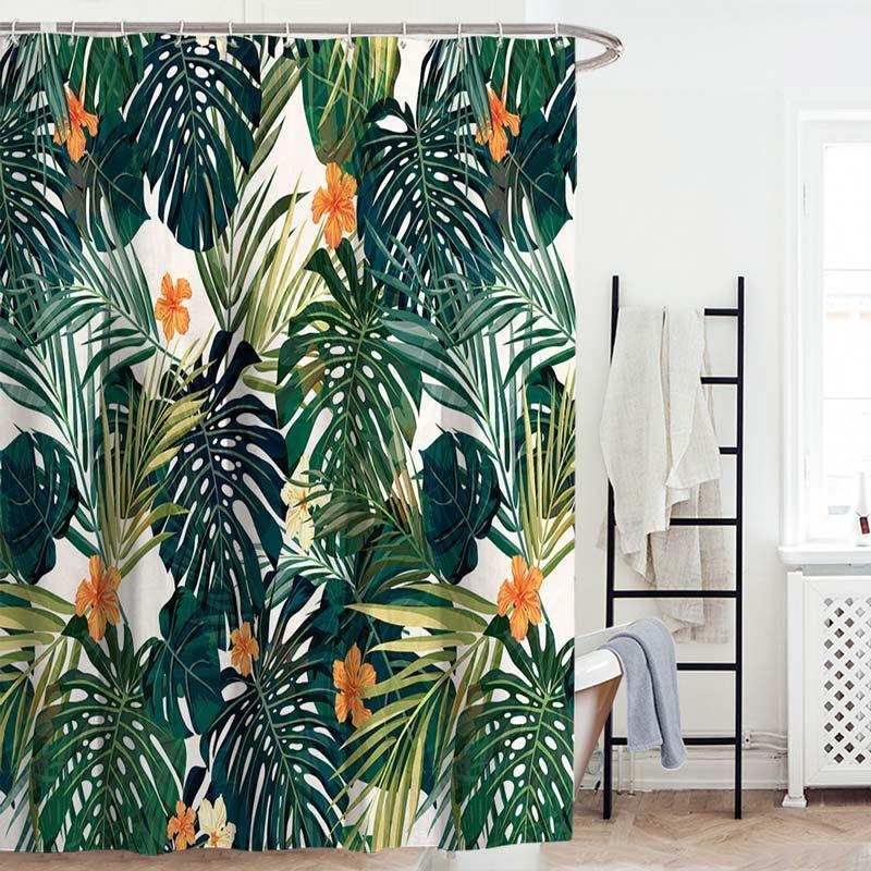 Moderner Duschvorhang Mit Bananenblatt Motiv Wasserdicht Und Anti