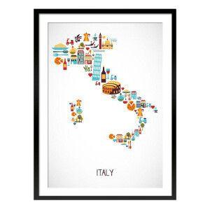 Cuadro enmarcado Italy blanco y azul  70 x 1,6 x 50 cm