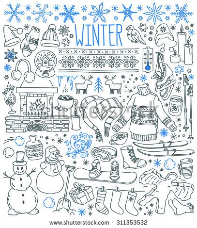Winter Season Themed Doodle Set Snowflakes Icicles