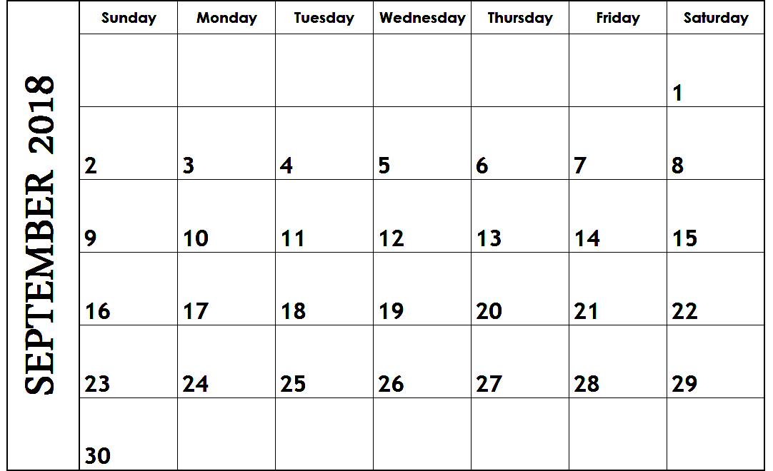 September 2018 Excel Calendar Template 2018 Calendars Pinterest