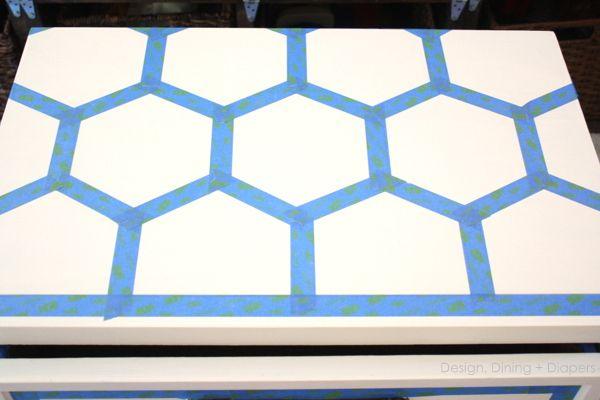 Diy Honeycomb Side Table Using Scotchblue Painters Tape Painters Tape Design Painters Tape Design Wall Painters Tape Art