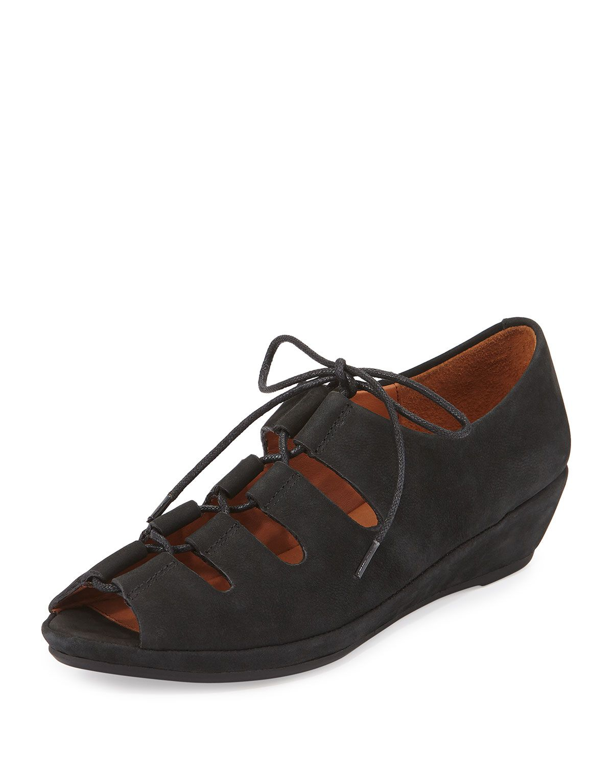 Vally Lilly Lace-Up Wedge, Black, Women's, Size: 39B/9B - Gentle Souls