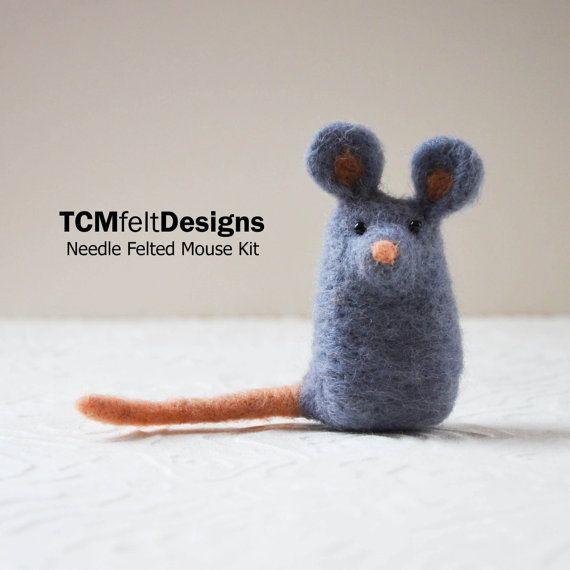 Needle Felting Kit, Mouse, wool complete animal fiber kit for beginners #needlefeltedanimals