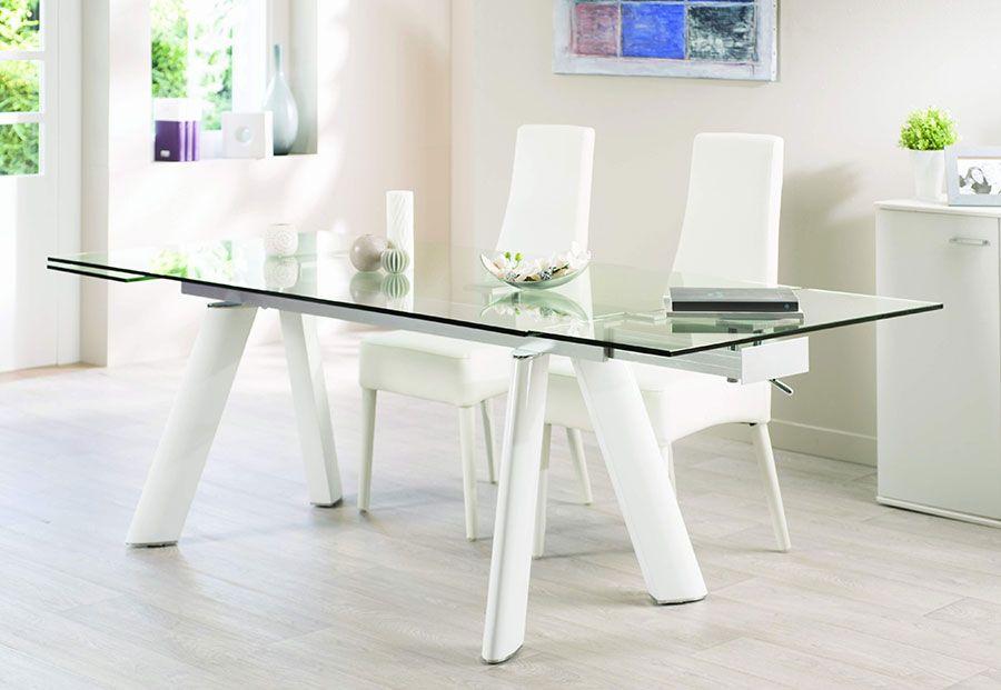 table de salle manger design en verre et aluminium oleane coloris blanc laqu table de salle. Black Bedroom Furniture Sets. Home Design Ideas