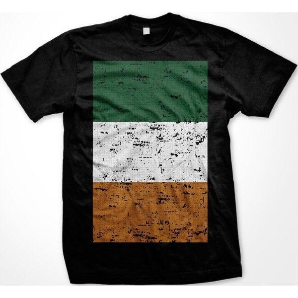 Emo Irish Flag Mens Ireland T-Shirt, Oversized Distressed Irish Flag... ❤ liked on Polyvore