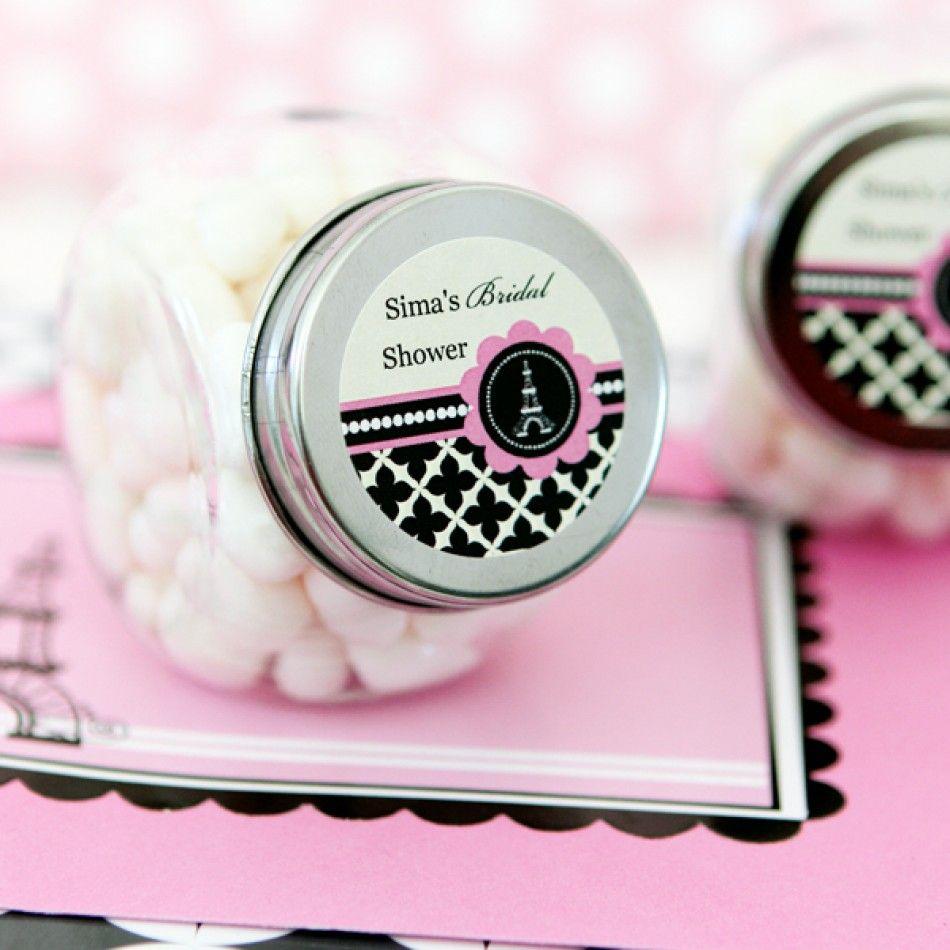 Parisian Party Personalized Bridal Shower Candy Jar Favors [EB2025PP ...