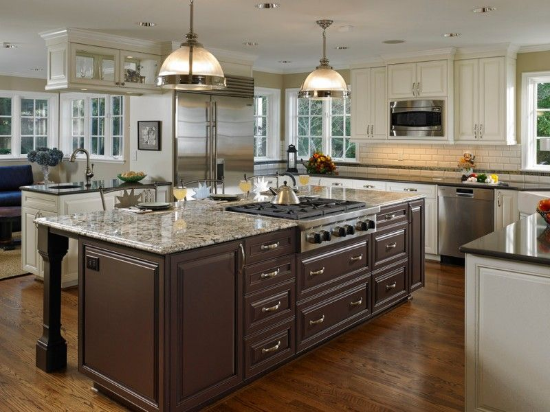 L Shaped Kitchen Idea With Dark Brown Island Granite Top And Raised Panels Cabinets
