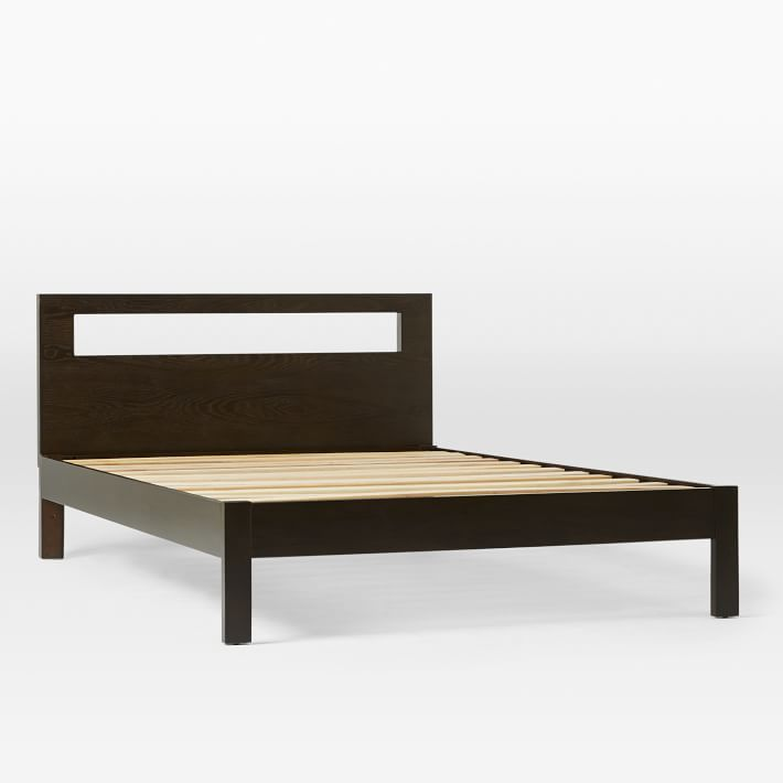 Low Wood Cutout Bed   Chocolate