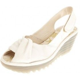 Fly London Yakin Off White Leather Open Toe Wedge Shoes
