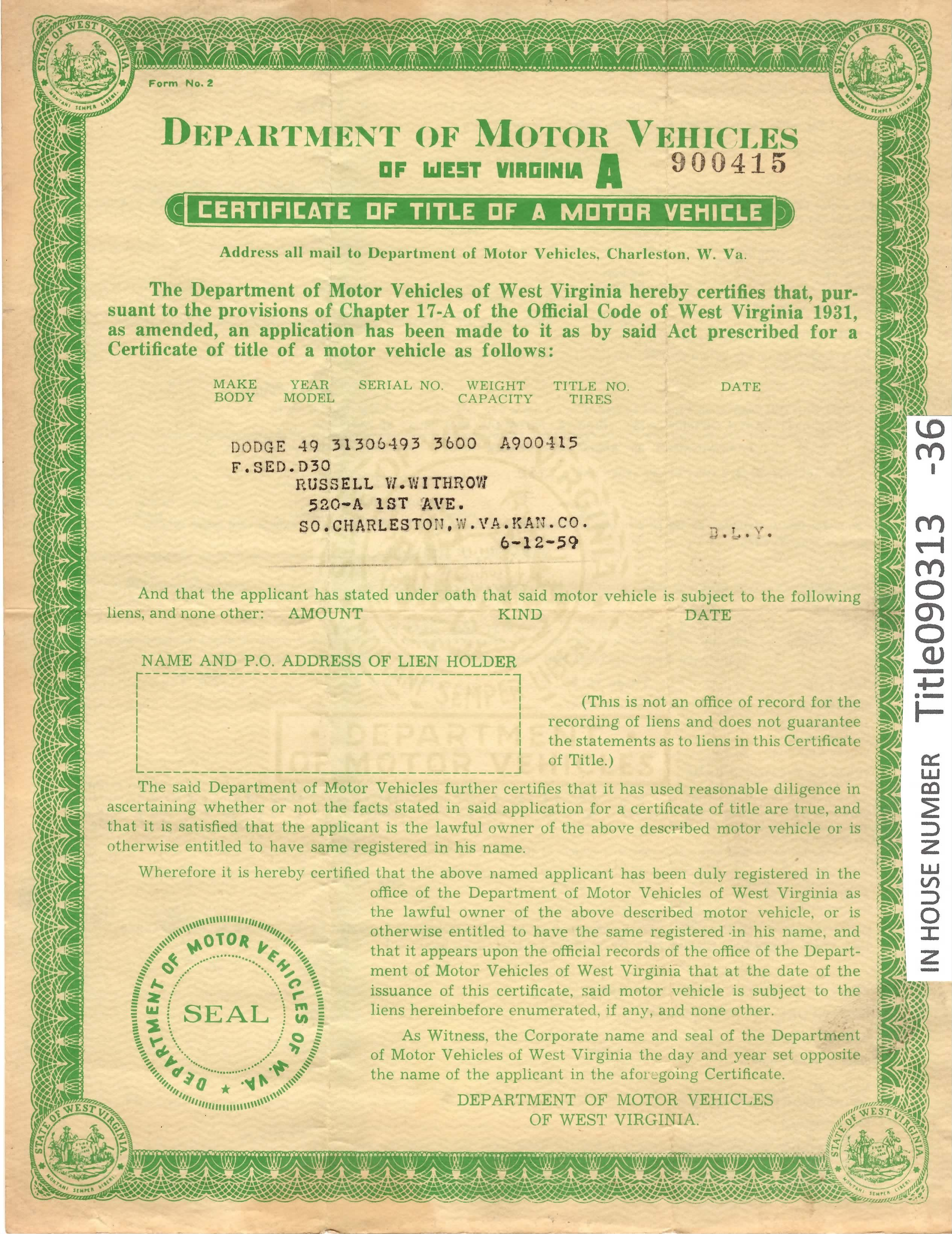 Vehicle Registration Certificate (V5C) showing the tax class as `historic or.