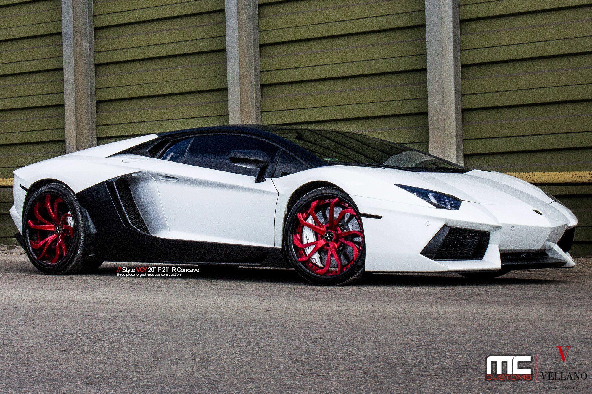 Automotive Stunner White Lambo Boasting Red Concave Vellano
