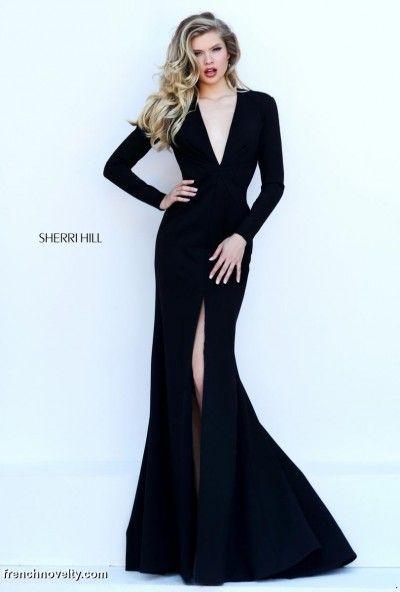 long sleeve deep v gown