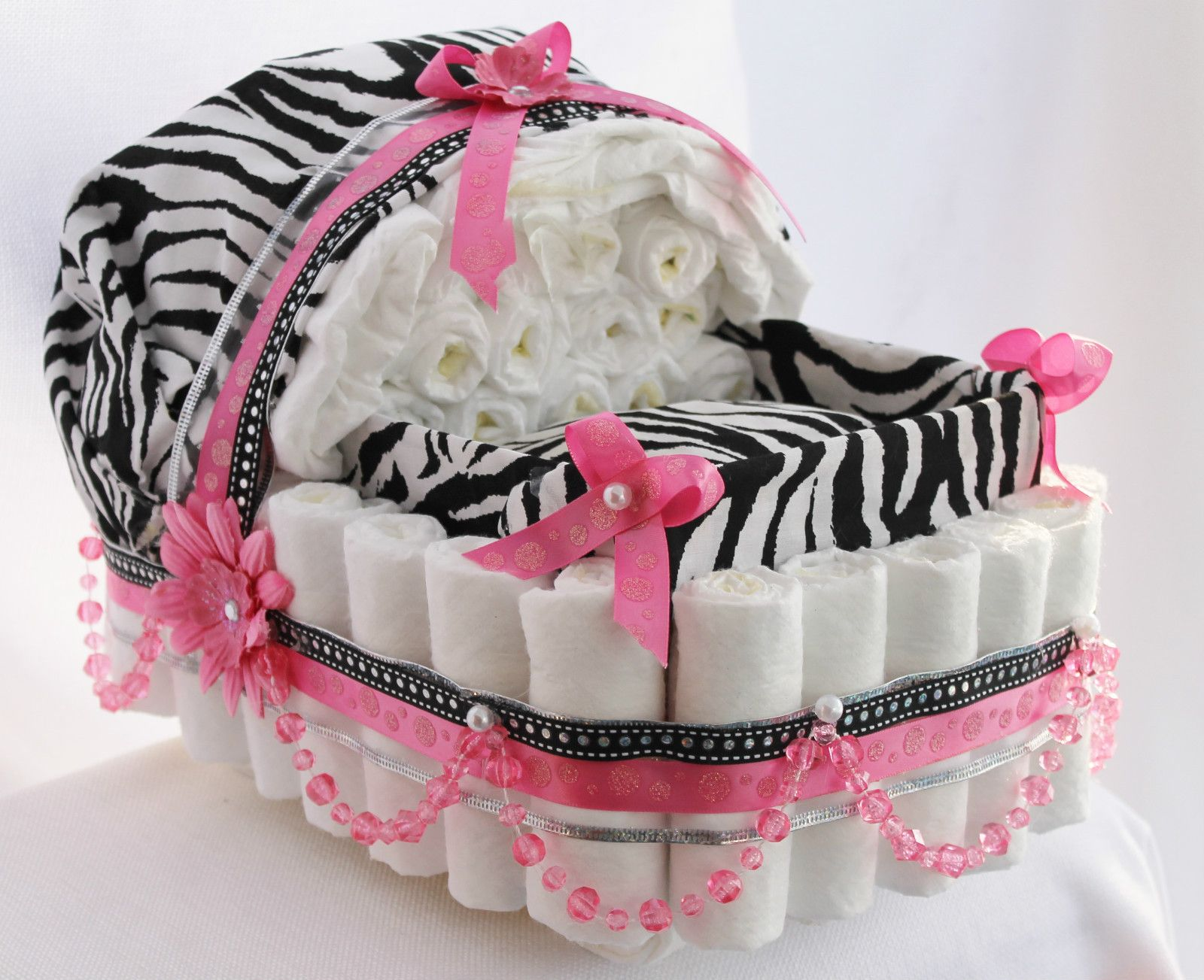 Baby Girl Pink And Zebra Pearl Diaper Cake Baby Carriage
