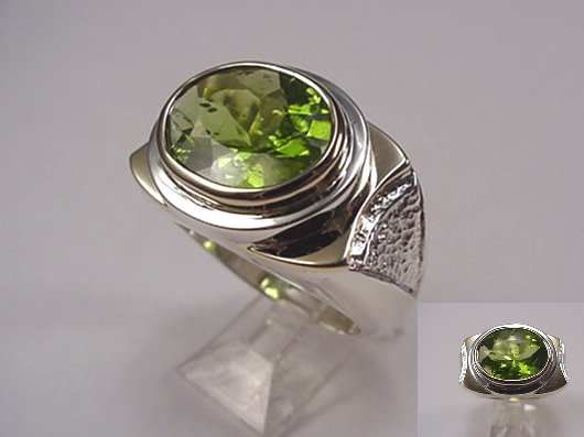 Mens ring sterling silver and 14K gold one oval peridot Pinky