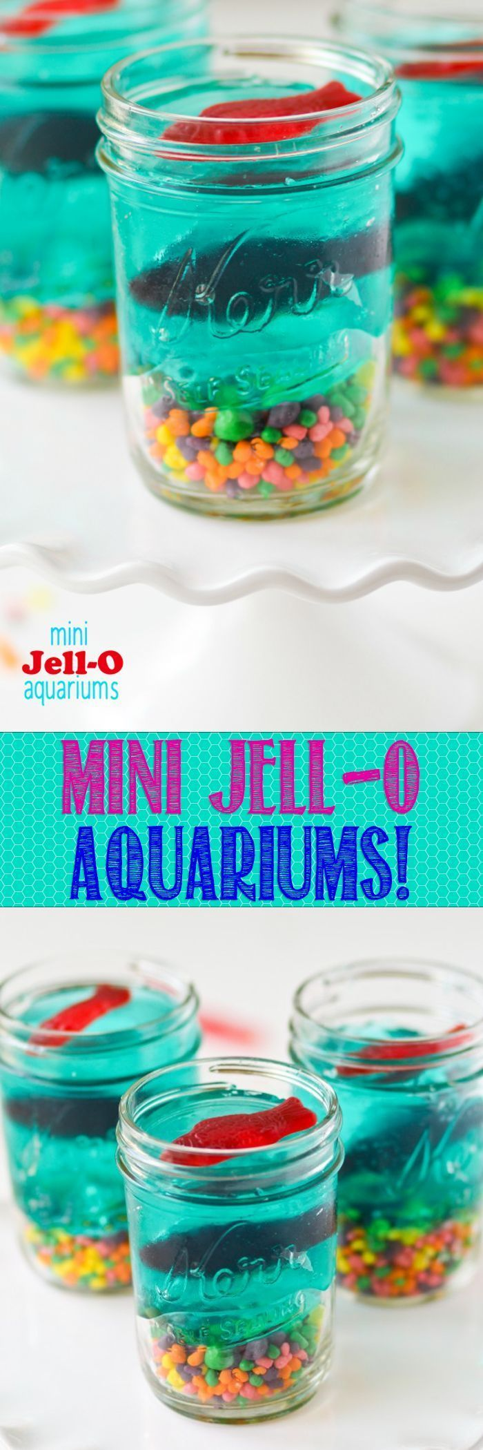 Mini Jell-O Aquariums -- so cute and such a fun snack/project to do with the kiddos this Summer. Fun birthday party snack!!: