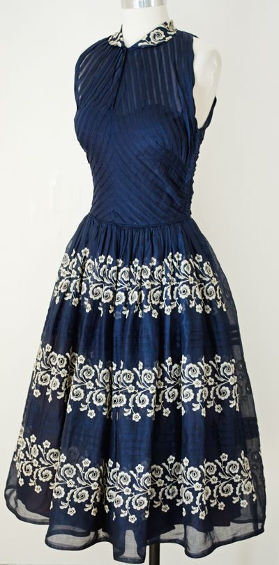 Fiesta Dress, Fitted Hourglass Bodice, Navy Blue Semi-Sheer with Off-White  Embroidered Floral Design.