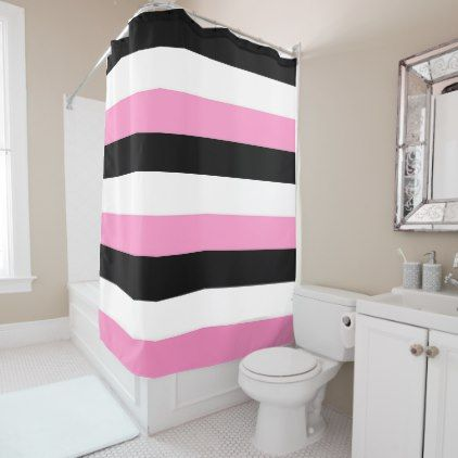 Black White And Pink Stripes Shower Curtain Chic Design Idea Diy