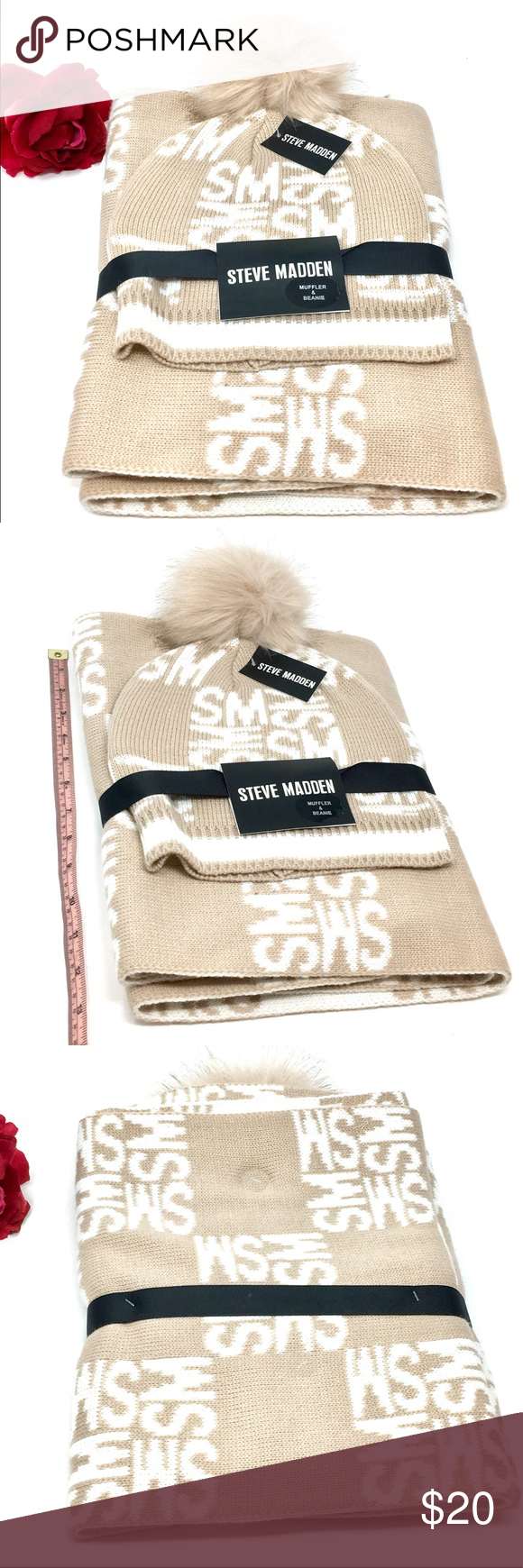 Steve Madden Scarf /& Hat Gift Set Winter Pom Pom Beanie Hat