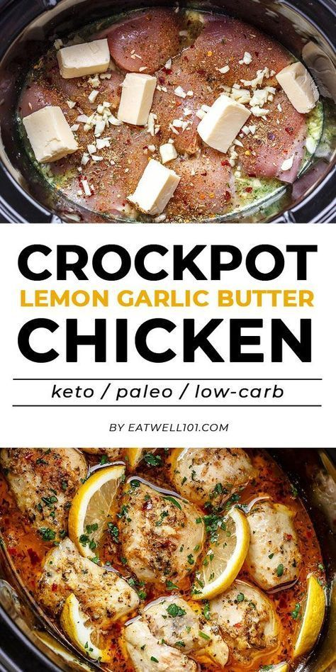 Crock Pot Lemon Garlic Butter Chicken - New Ideas #slowcookercrockpots